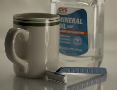 Cup, razor, mineral oil